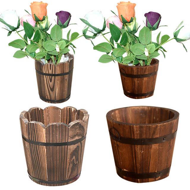 New Garden Decor Wavy Edge Carbonized Wood Barrel Flower Pot Planting  Flower Barrels Wooden Flower Pots