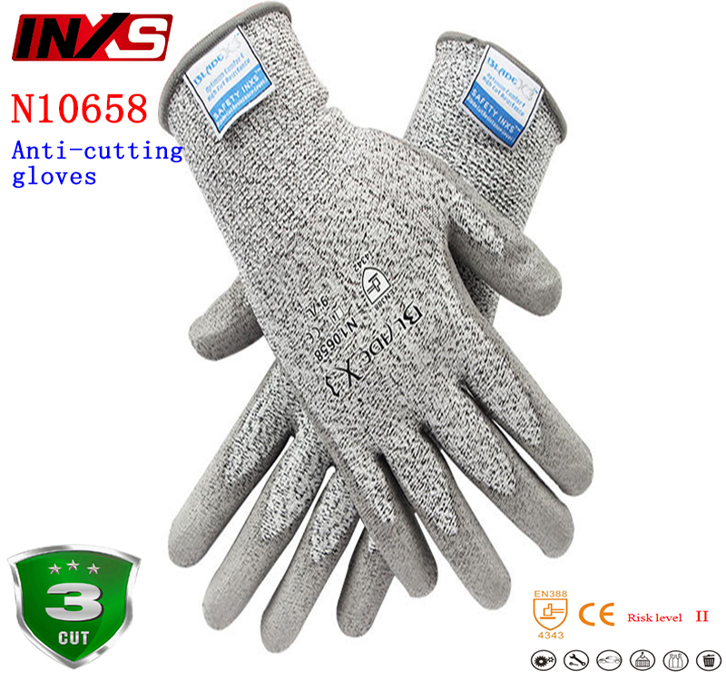 SAFETY-INXS N10658 anti cut gloves EC Certification HPPE liner PU Dipped palm Anti-cutting Wearable protection gloves