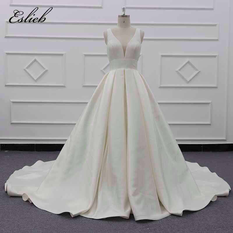 Eslieb Elegant Hot Sale Deep V Neck A Line Wedding Dresses