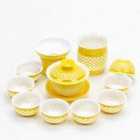 Ceramic Kung Fu Tea Set Rainbow Cup Gold Line Blue and White Porcelain tea set