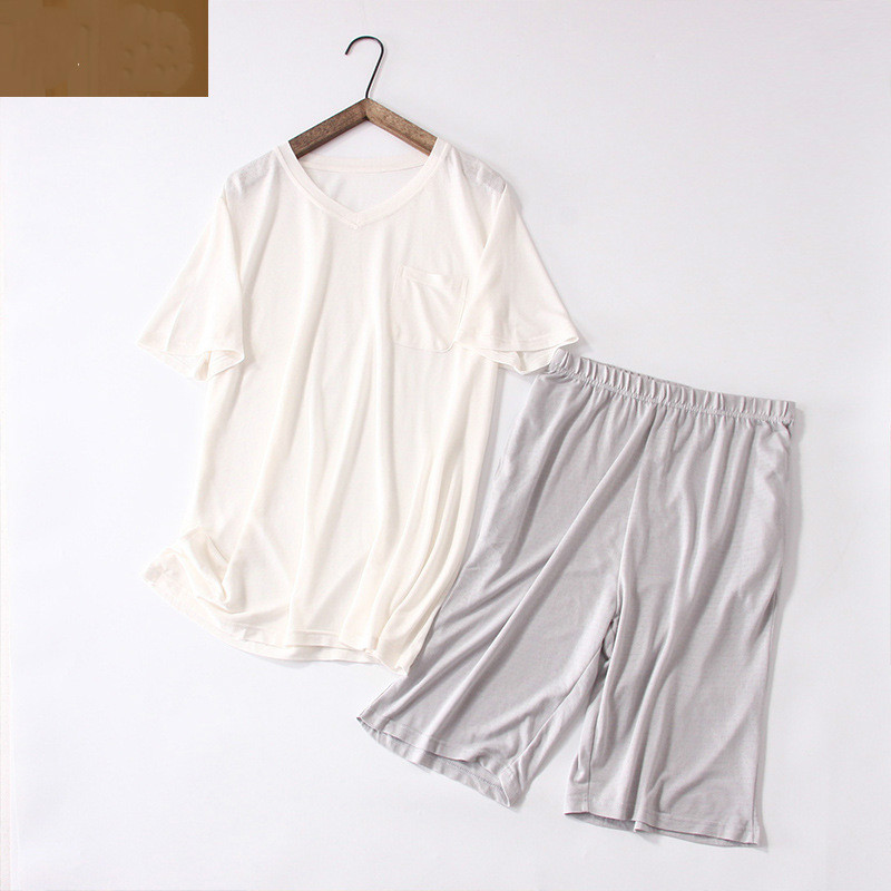 Underwear & Sleepwears Ice Silk Cool Cotton Short-sleeved Pajamas Can Be Worn Outside The Knitted Mesh Solid Color Home Service Suit Men's Sleep & Lounge