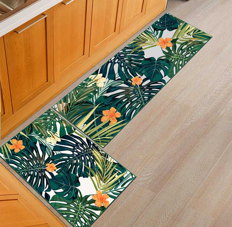 2PCS Kitchen Mats Made With Polyester Material for Modern Kitchen Balcony and Hallway Floor 8