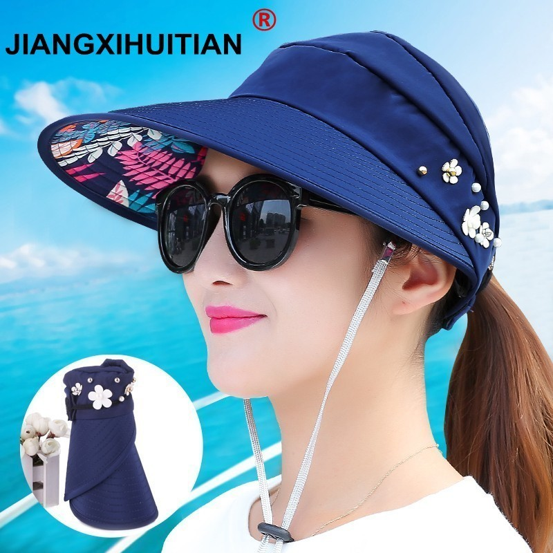 New simple women summer beach Sun Hats pearl packable sun visor hat with big  heads wide brim UV protection female cap a94f9574f297