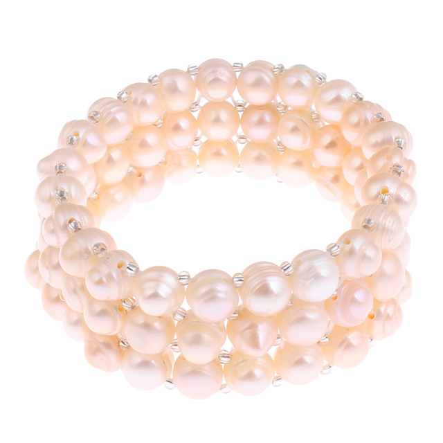 Yyw Natural Real Freshwater Cultured Pearl Bracelet Gl Seed Beads Charms 3 Strand Rows