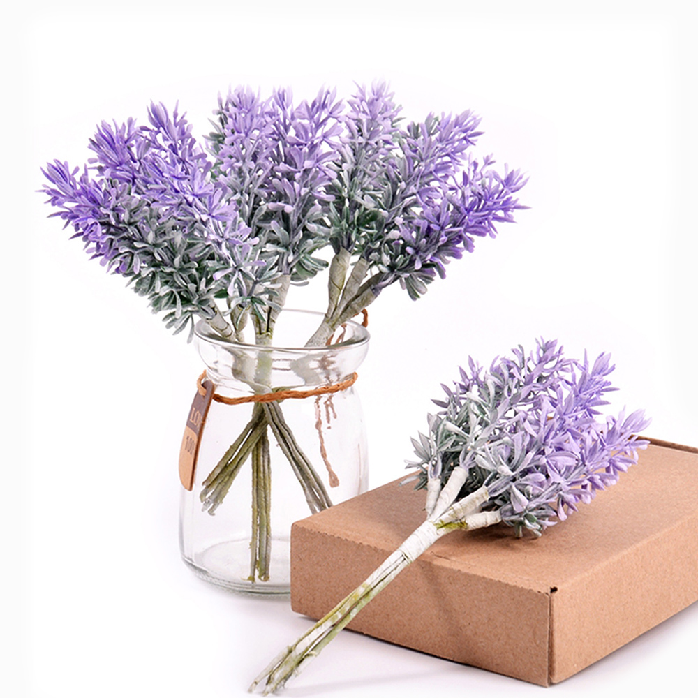 6Pcs/lot Artificial Flowers Romantic Mini Plastic Lavender for Wedding Christmas Home Decoration DIY Handcraft Gift Fake Flowers