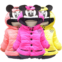 Autumn Winter Mickey Minnie Girls Jackets Cute Cotton Keeping Warm Kids Jacket Hooded Casual Girls Coat Children's Clothing new baby girls minnie jacket kids cotton keeping warm winter coat chirdren character lovely hoodies outerwear and girl s vest