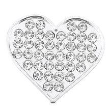 X Autohaux X Autohaux Bling Rhinestones Silver Tone Heart Shape 3D Emblem Car  Sticker fd386304e64f