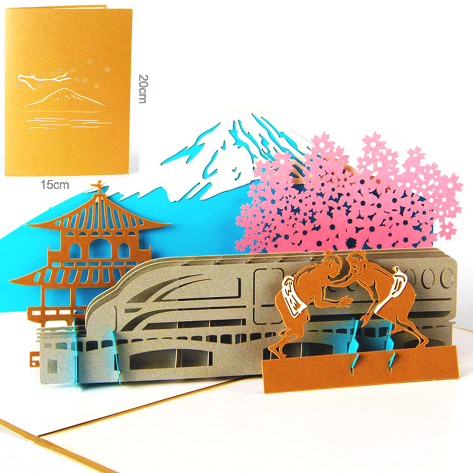 3D pop up handmade vintage cards Fujiyama ( in Japan ) creative gifts postcard birthday greeting cards creative gifts 3d pop up card greeting