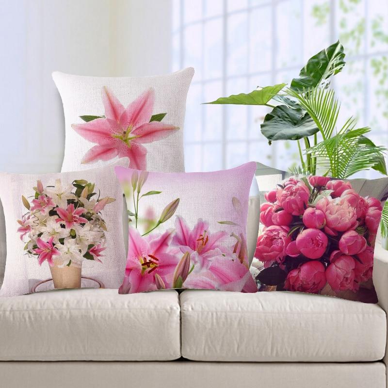 Maiyubo красивые цветы Чехлы для подушек из хлопка и льна Пледы Наволочки стул Подушки Детские Чехлы для мангала coussin де Салон Оптовая