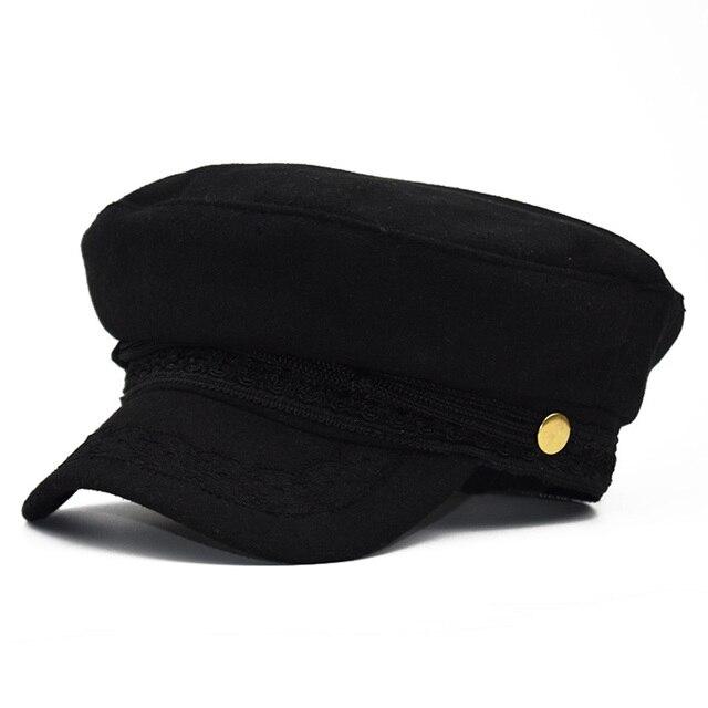 Autumn Octagonal Hats Flat Military Baseball Cap Ladies Solid Caps Metal Women Casual Berets Hat Gorra Militar