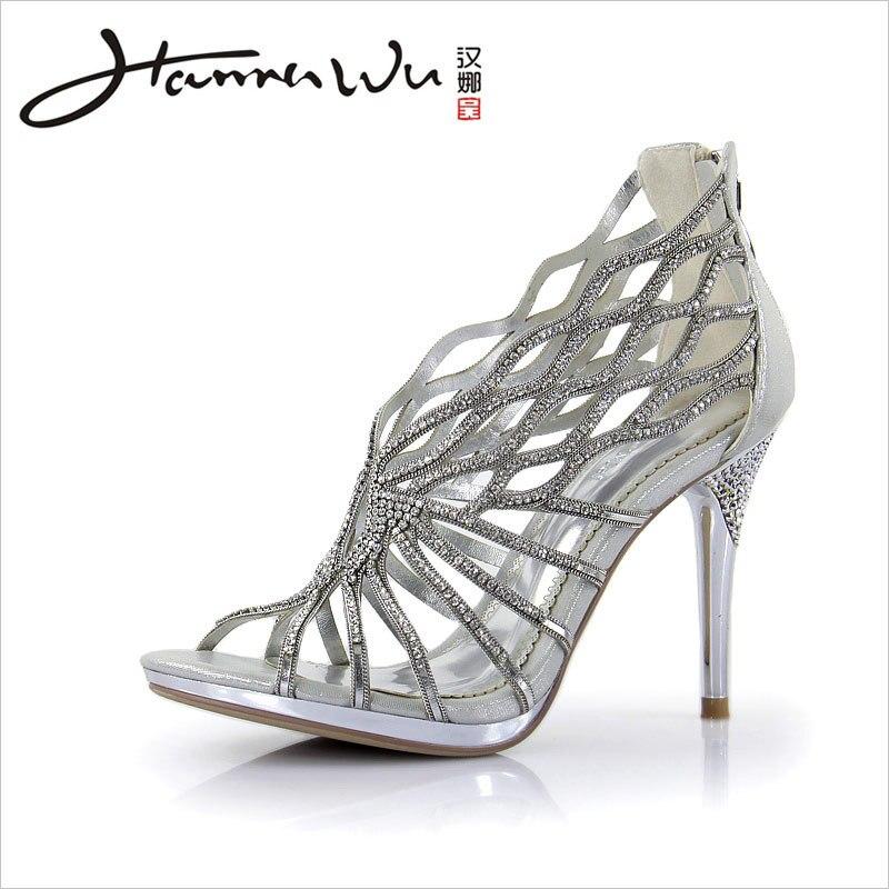 0c30bedbbf8 HANNAWU silver rhinestone Strappy high heels fashion women s Gladiator  wedding shoes