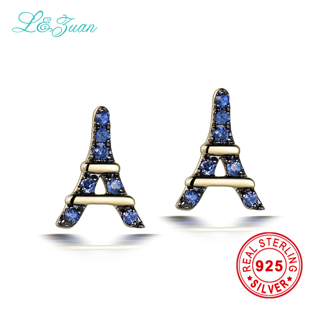 L&zuan Romantic Eiffel Tower 14k Yellow Gold Natural 0008ct Sapphire Stud  Earrings Fine Jewelry For