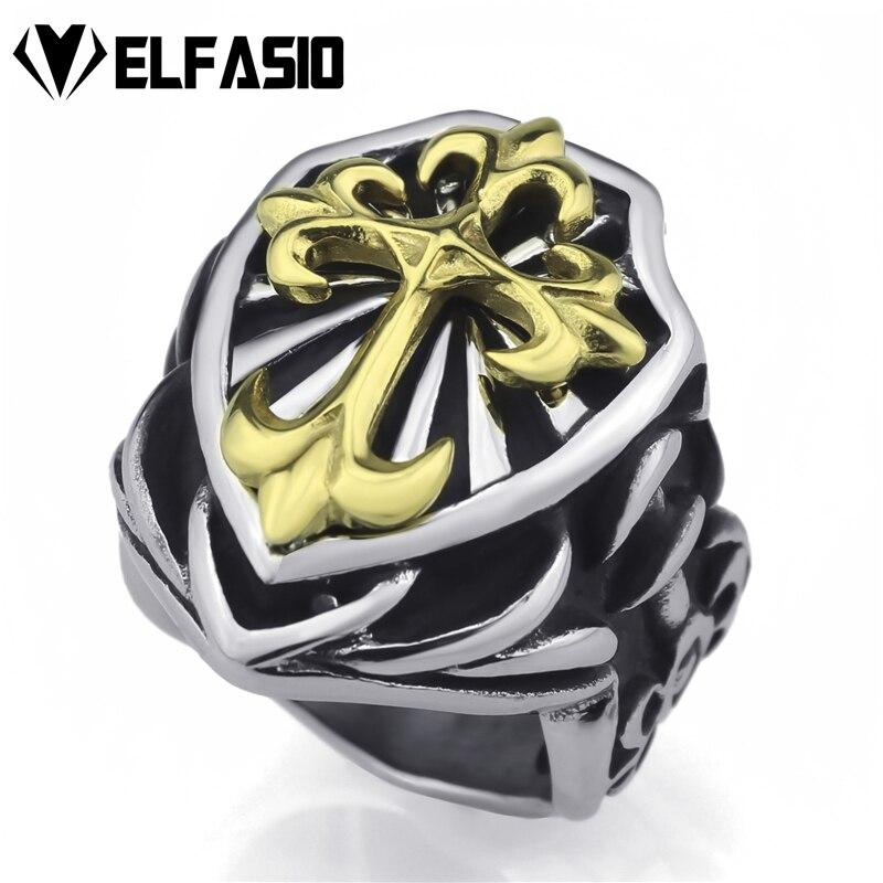 Stainless Steel 2 Color Fleur De Lis Flower Cross Biker Ring