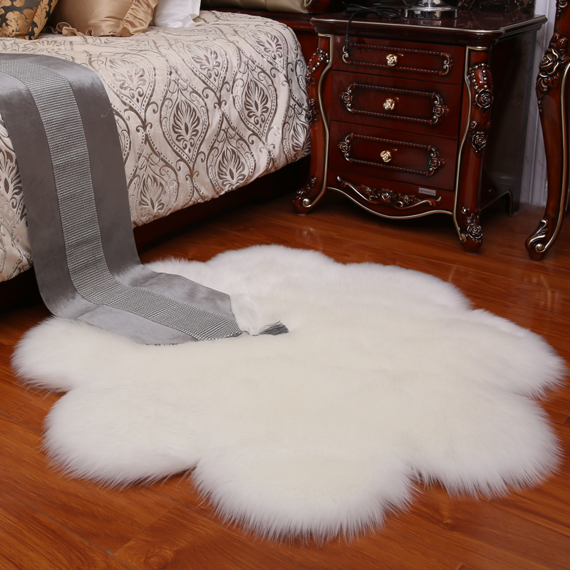 MUZZI Fluffy Flower Shape Rug Carpets Faux Fur Carpet Kids Room Long Plush Rugs For Bedroom Shaggy Area Rug Moder