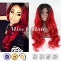 Длинный красный парик многоуровневая прическа корень темно-красный парик синтетический парик фронта красный кружева черный красный ombre парик