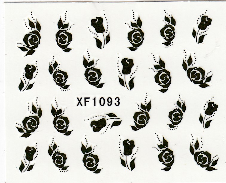 Artlalic 1 Sheet Black Rose French Nail Water Decals Ar