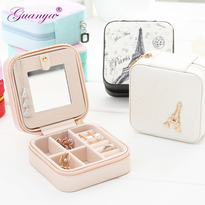Guanya Newest Mini Stud Earrings Rings Jewelry Box Useful Makeup Organizer With Zipper Travel Portable Display Case Women's Gift