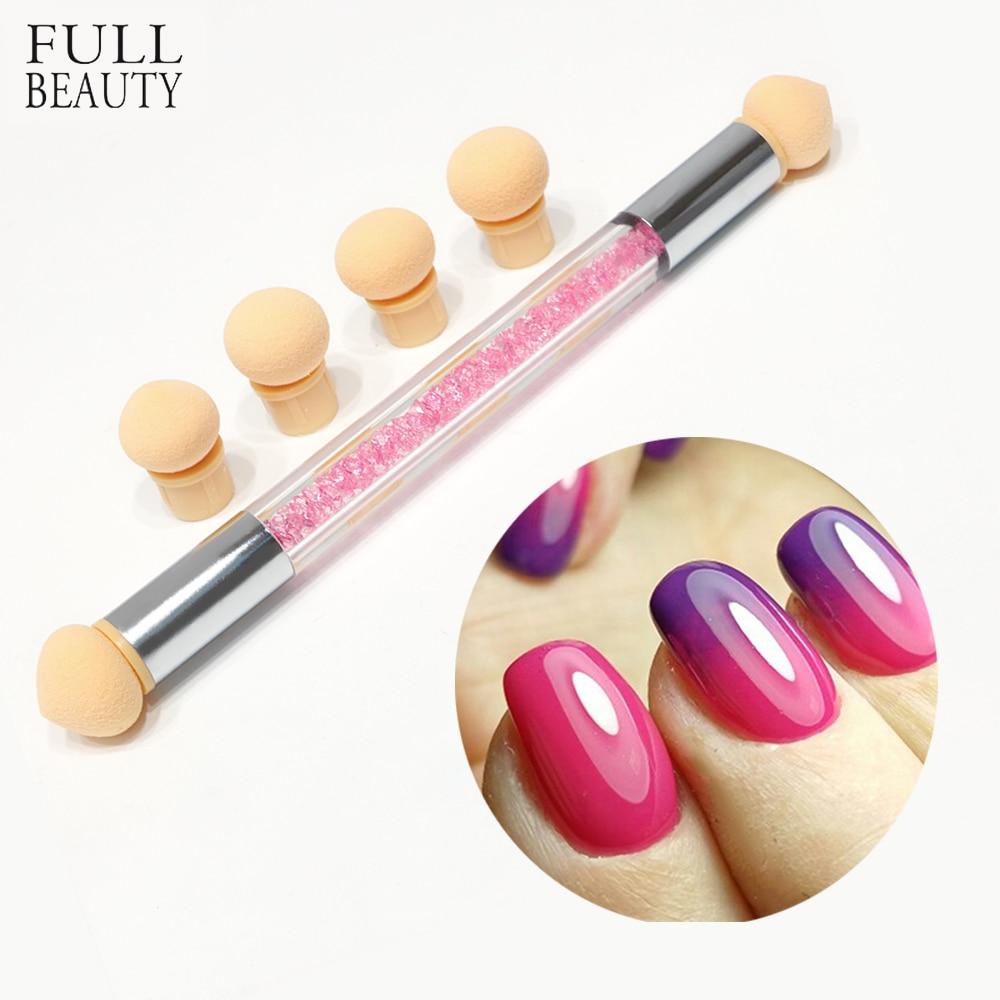 Full Beauty 1 Pcs Double-Ended Glitter Powder Dotting Nail Brush+6 Gradient Gel Polish Sponge Multipurpose Manicure Tool CH286 цена