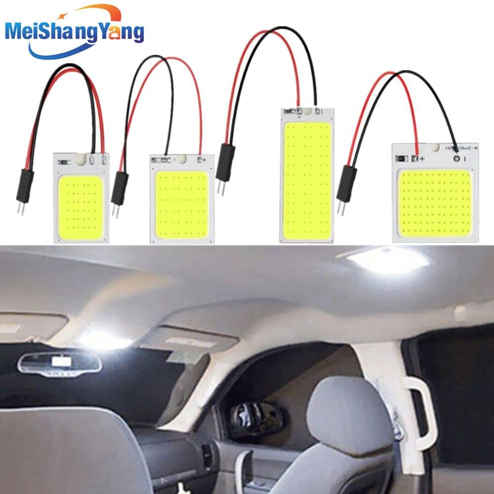 2Pcs Panel Led Dome Reading Light Map Lamp COB 16 24 36 48SMD Car Interior Lights Auto Bulb C5W Festoon BA9S T4W T10 Adapter