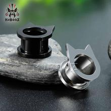 цена KUBOOZ Ear Gauges Screw Earrings Piercing Plugs Tunnels Stretcher Stainless Steel Fashion Body Jewelry Expander Studs Women Men онлайн в 2017 году