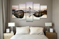 New 5 Panel Large HD Printed oil painting matterhorn in alps canvas print home decor Wall art Pictures For Living room F0144