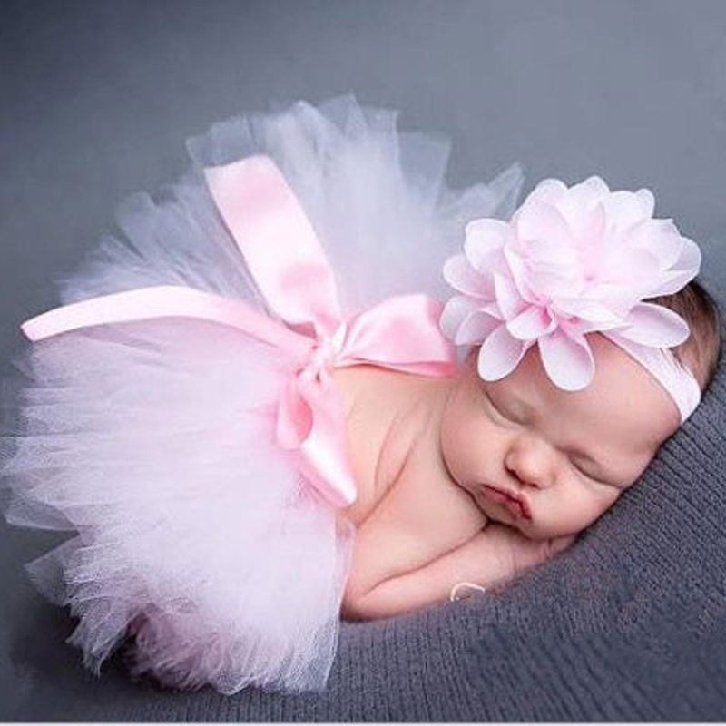 Infant Newborn Baby Girl Clothes Girls Flower Headband Mesh Ball Gown Tutu Skirts Photography Prop Baby Clothing Set