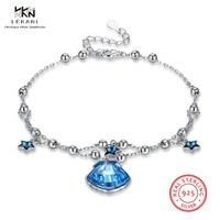 LEKANI Crystals From Swarovski Bracelet 925 Shell Star Shape Sterling Silver Bracelet Ladies Sapphire Boutique Jewelry gift