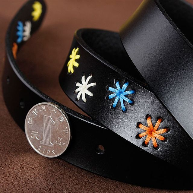 [HIMUNU]Fashion Brand Genuine Leather Belts for Women Vintage Floral Design Cowskin Belt Woman Top Quality Women belt 4 Color 5