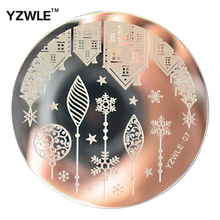 YZWLE 1 Sheet Stamping Nail Art Image Plate, 5.6cm Stainless Steel Template Polish Manicure Stencil Tools (YZWLE-07)