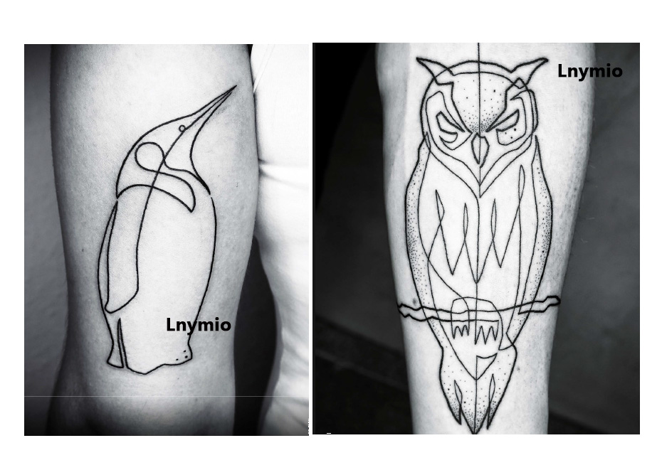 17 NEW tattoo owl and penguin temporary tattoo sticker black line style Man cool tattoo animal 2