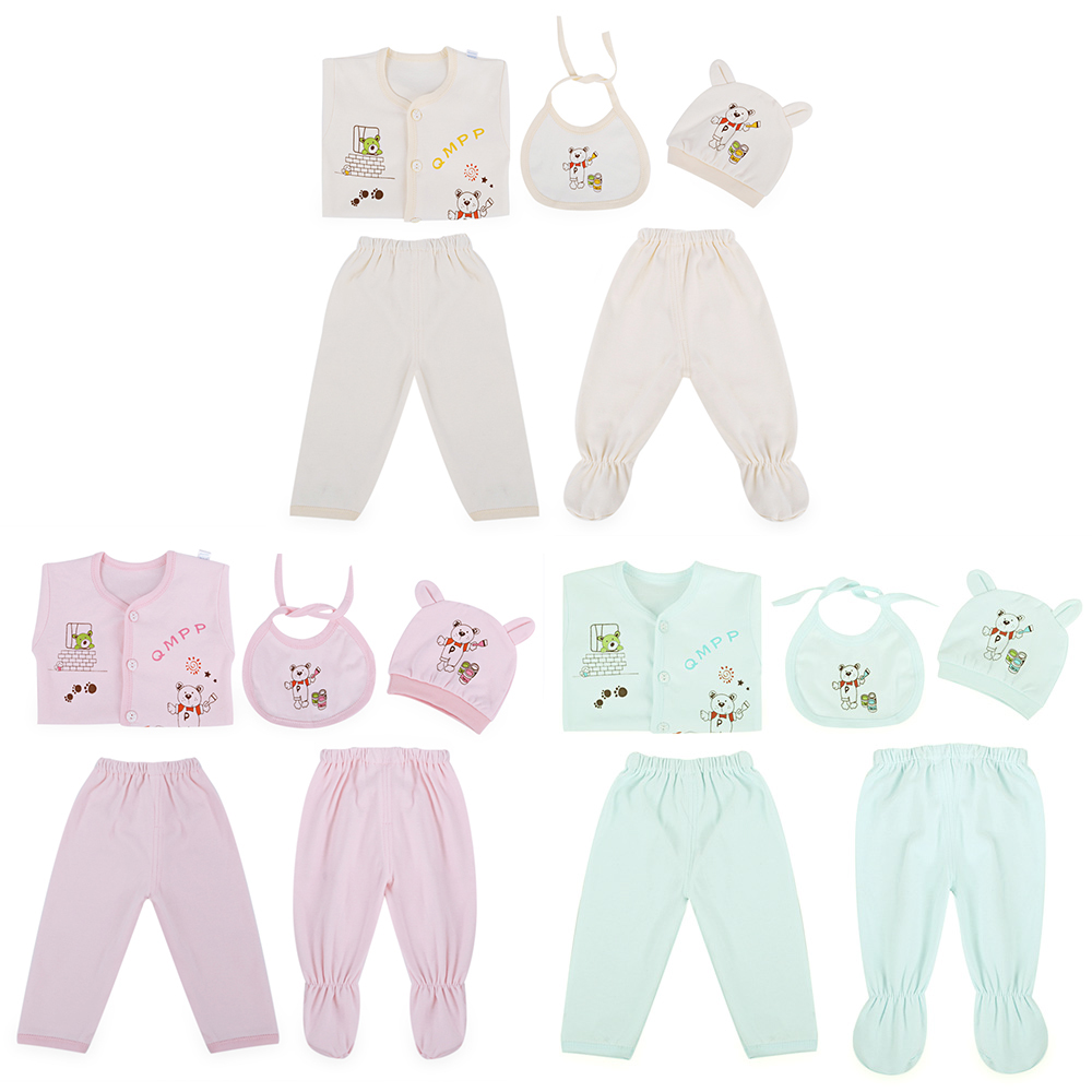 5Pcs Newborn Baby Girls Boys Clothing Set 100% Cotton Enfant Baby Set Kids Cute Cartoon  ...