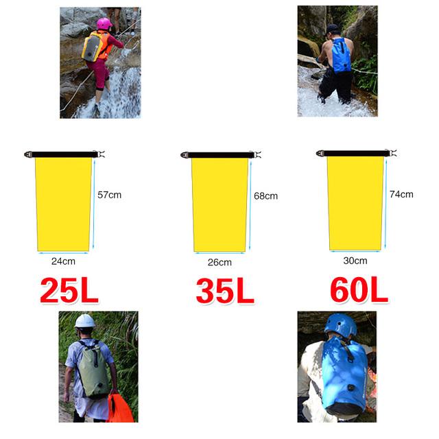 Portable Outdoor PVC Waterproof Diving Bag Travel Dry Bags Kayak Canoe Rafting Bag 25L/35L/60L Waterproof Double-Shoulder Bag
