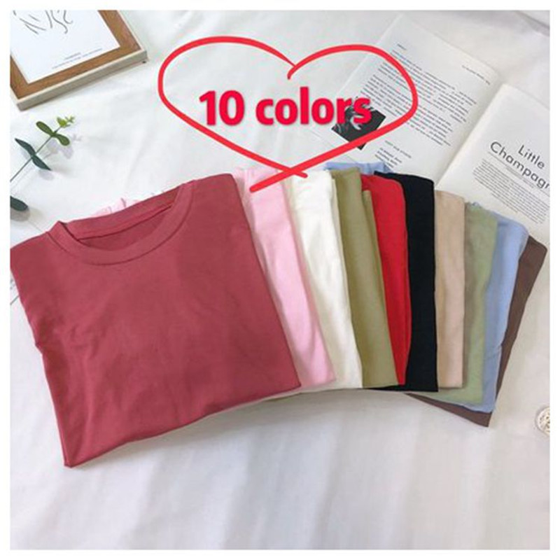 Fashion Solid Color Female T shirt Women Tshirts 2019 New Summer Casual Harajuku T Shirt Femme Top 10Colors M 2XL in T Shirts from Women 39 s Clothing