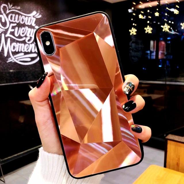 Funda de teléfono con espejo de textura de diamante para iphone 7 8 6s 6 plus funda suave a prueba de golpes TPU para iphone X Xs Max 6 Xr 7 8