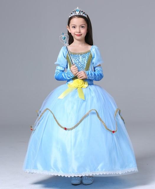 a3893921b13cf € 19.41 20% de réduction|Princesse sofia costume Belle cendrillon robe  princesse costume robes pour fille robe elsa robe de soirée robe reine des  ...