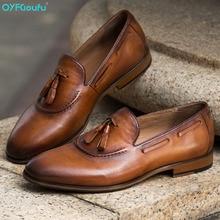 QYFCIOUFU Handmade tassel Shoes Men 2019 brown Formal Wedding Office Mens dress shoes Genuine Calf Leather oxford for men