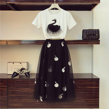 dc5d0dd068 Appliques Beading Embroidery Swan T-shirt Long Mesh Skirt 2 Piece Sets 2019  Summer New Cotton Tops Pleated Tulle Skirt Suits