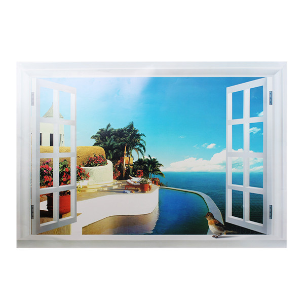 Fashion New Window Scenery Beautiful Sea Beach View Wall Sticker Fake Poster Decorative In Stickers From Home Garden On