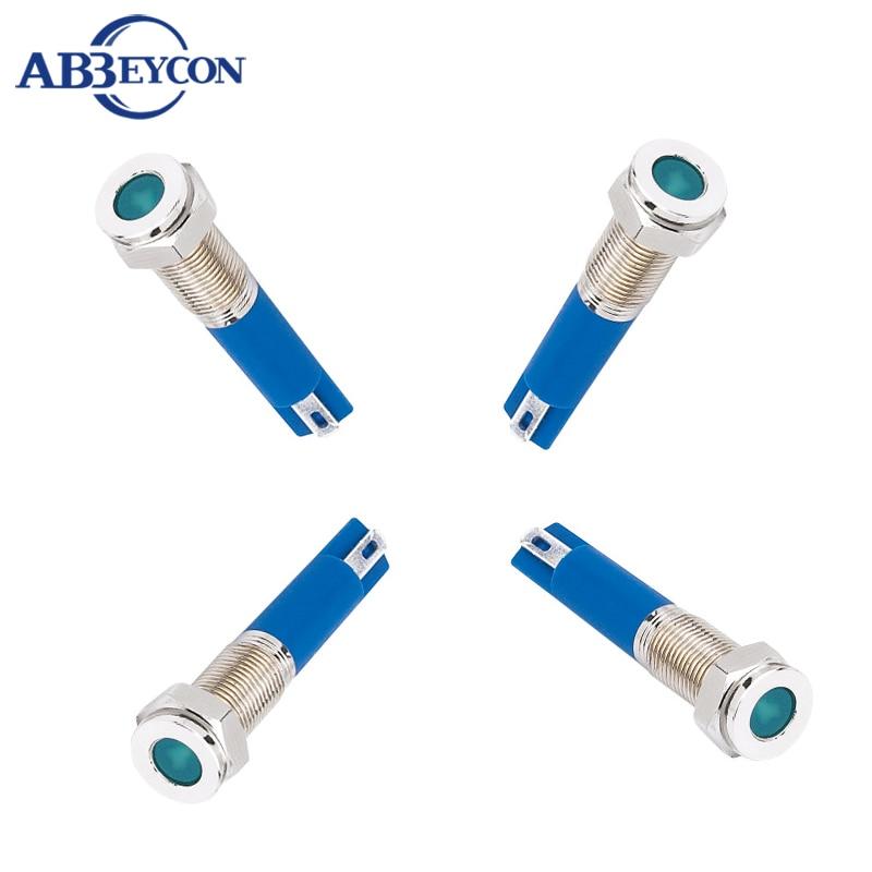 ABBEYCON flat round 2V/3V/6V/12V/24V/36V/110V/220V metal indicator 8mm metal pilot lamp