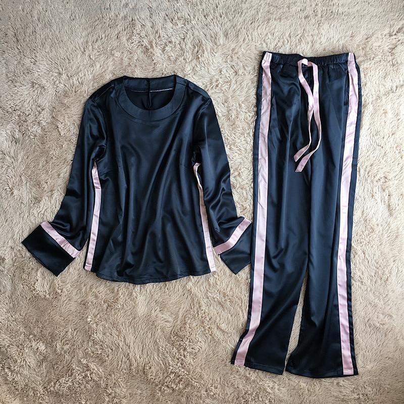 ZOOLIM Women Winter Sleepwear Europe Style Satin Pajamas for Autumn Pajamas Set High Quality Long Sleeve Top+Long Pants Pijama