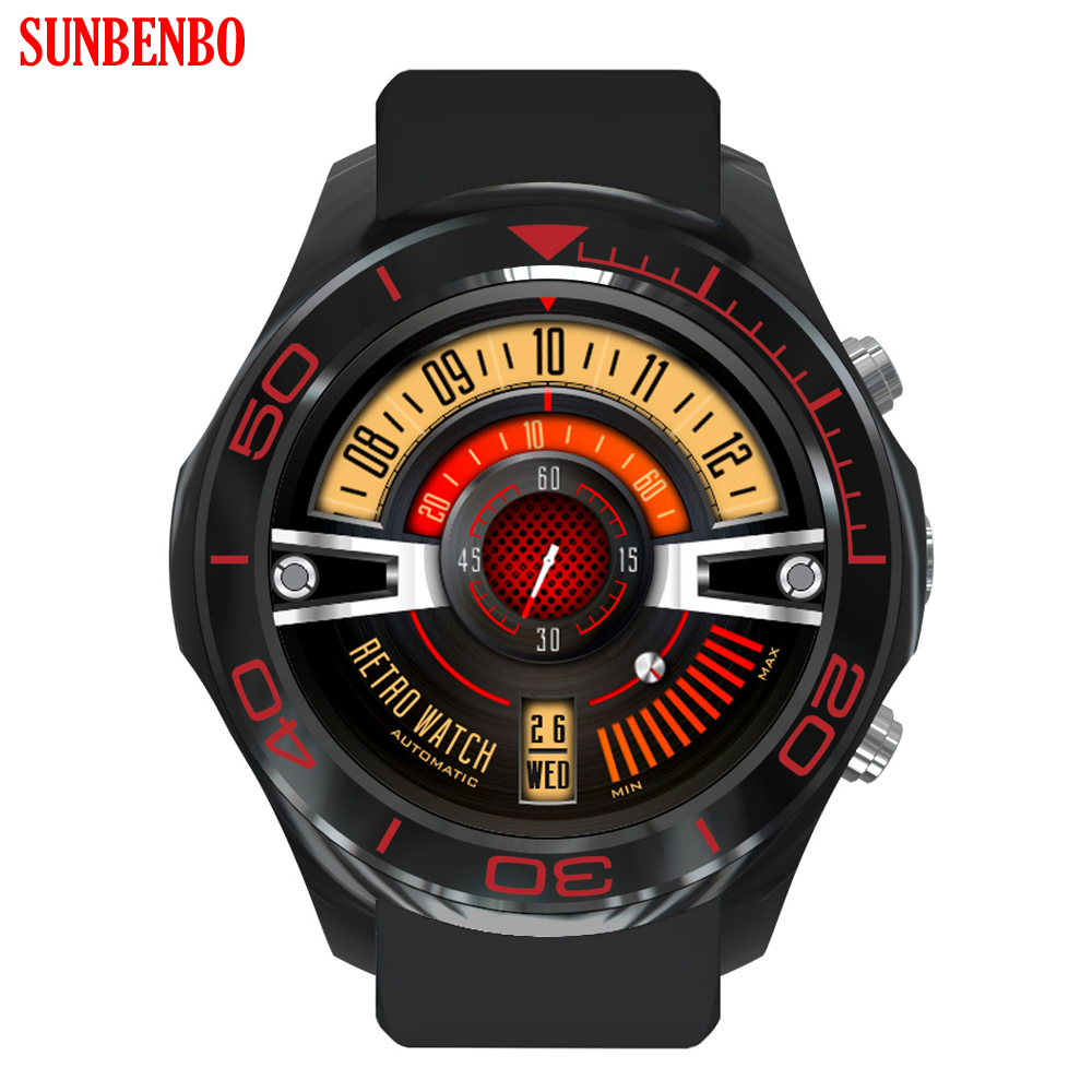 SUNBENBO Smartwatch Wristwatch Mens MTK6572 Android 5.1 OS GPS Smart Watch Phone With 2.0 MP Camera support Wifi 3G SIM card celiadwn smart watch android 5 1 smartwatch phone 3g mtk6580 512mb 4gb with 2 0 camera wifi gps sim card clock vs x200 dm98