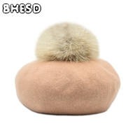 BHESD 2017 Newest Natural Raccoon Fur Pompom Hat For Women Real Fur Pom Pom Red Berets