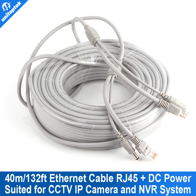 CAT5/CAT-5e CCTV Network Lan Cable 132ft/40M Ethernet Cable RJ45+DC Power For nvr Network Video Recorder System IP Camera Gray