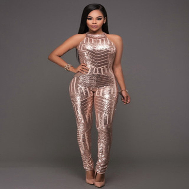 8fd97d88991 2018 Autumn Winter Women Gold Sequin Jumpsuit Mesh Bodysuit Fashion  Sleeveless Sexy Party Club Bodycon Rompers