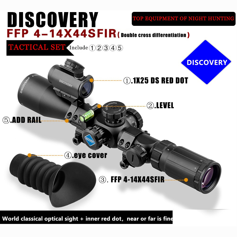 Brand Discovery FFP 4 14X44SFIR riflescopes Optical Sight and 1X25 red dot For Hunting Collimator Sight Aim Scope night hunting