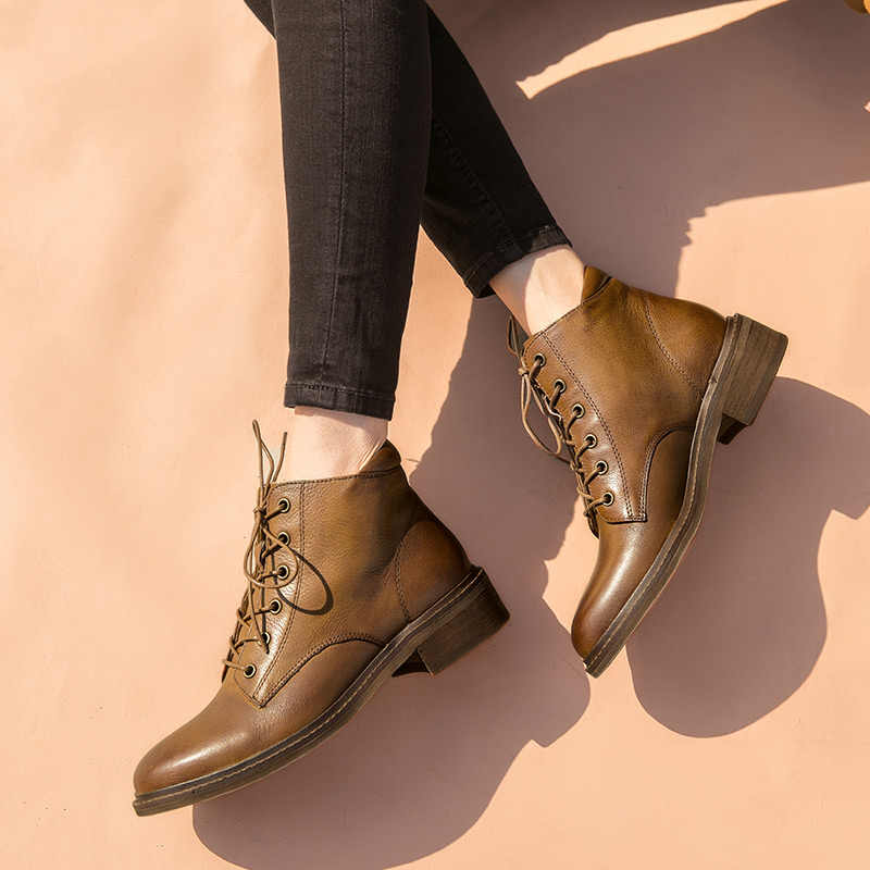 BeauToday yarım çizmeler Kadın Hakiki Inek Deri Yuvarlak Ayak Dantel-up Üst Marka Kış kadın ayakkabısı 03277