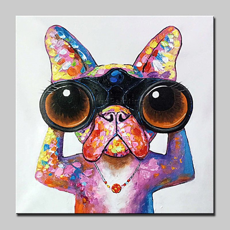 Pop Art Home Decor: Dog Painting Canvas Acrylic Painting Wall Art Pictures For