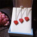 Fashion Jewelry White Gold Natural Red Coral Necklace for Women 925 Sterling Silver Red Heart Necklace To Wedding Chain Necklace