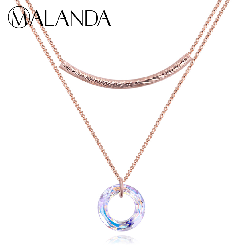 MALANDA Brand Round Circle Necklace Crystals From SWAROVSKI Fashion Metal Pendants Necklaces For Women Wedding Party Jewelry все цены