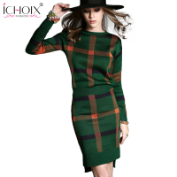 ICHOIX 2018 New Fashion Women dress O Neck Letter Print Rose Women dresses long sleeve sexy winter dress spring Clothes vestidos